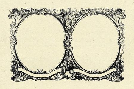 óvalo: marco de la cosecha en el fondo antiguo textura de papel Foto de archivo