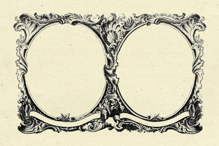 vintage frame on old paper texture background