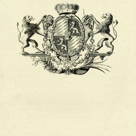 coat of arms whith lions on old paper background