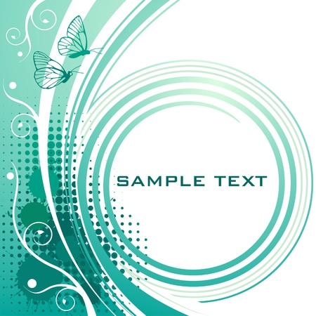 halftone cover: Abstract turquoise floral background with butterflies Illustration