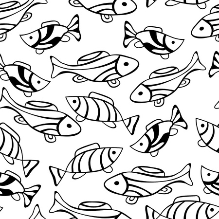 Seamless ornament with little fishes Vector