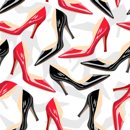 Seamless pattern with female shoes  Vector