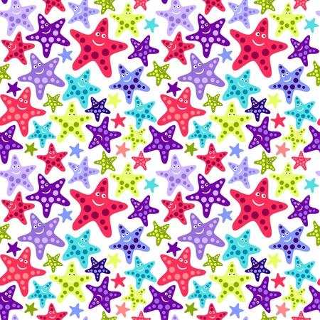 manic: Seamless pattern con stelle marine divertente Vettoriali