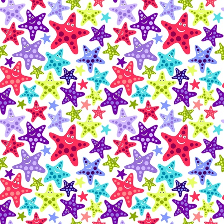 wrappers: Seamless pattern with funny starfish