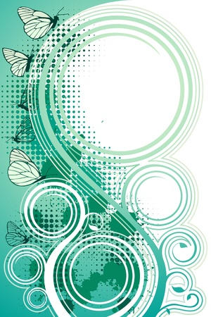 halftone: Turquoise floral background with copy spase
