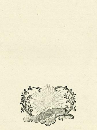 cartouche: vintage vignette on old paper background