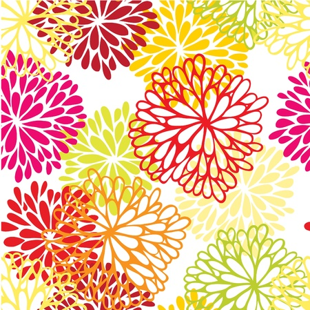 Floral seamless ornament with chrysanthemum