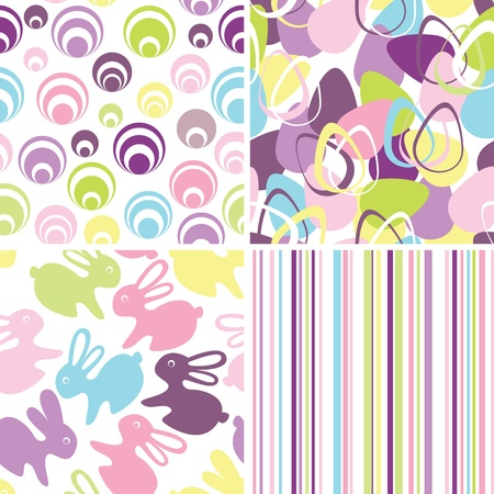 Easter set with seamless backgrounds  Vector