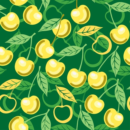 Seamless ornament with sweet yellow cherry Vector
