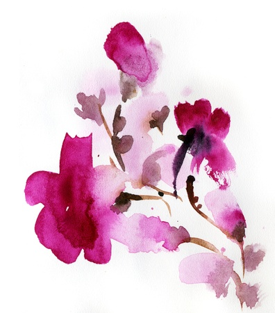 Abstract floral watercolor paintings Stock Photo - 14394452