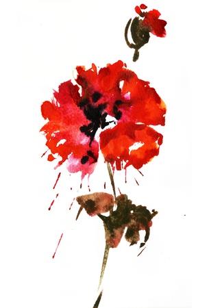 Peinture à l'aquarelle de fleurs Banque d'images