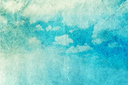 blue border: Retro image of cloudy sky on rice paper background   Stock Photo