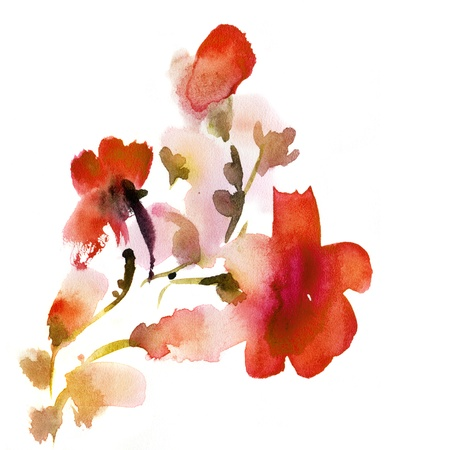 painted image: Abstract floral watercolor paintings. Painted and scanned by photographer.  Stock Photo