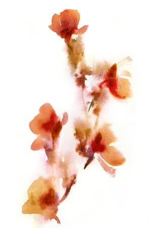 scanned: Abstract floral watercolor paintings. Painted and scanned by photographer.  Stock Photo