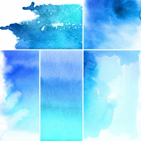 Set of watercolor abstract hand painted backgrounds photo