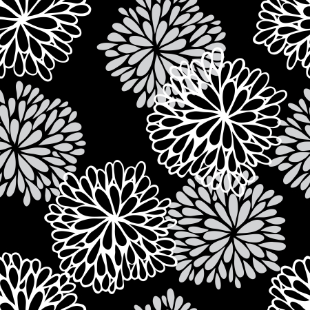 outline flower: Floral seamless pattern