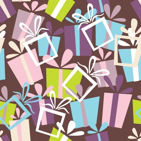 Seamless ornament with bright gift boxes Vector