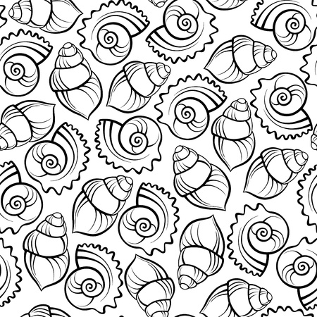 mussel: Sea shell seamless pattern Illustration