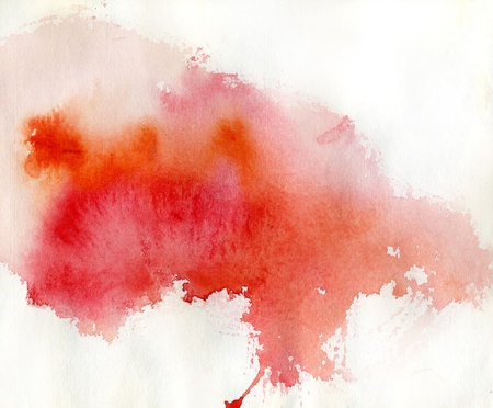 colour splash: Red spot, watercolor abstract hand painted background