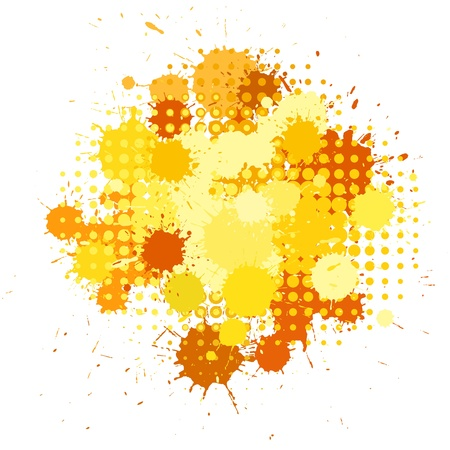 halftones: Set of ink blots and halftones patterns in yellow colors