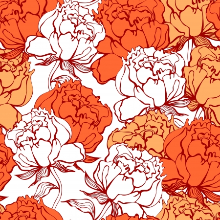 Rose flowers seamless ornament Vector