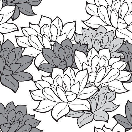 Stylish lotus flowers seamless background Ilustração