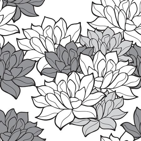 shanti: Stylish lotus flowers seamless background Illustration