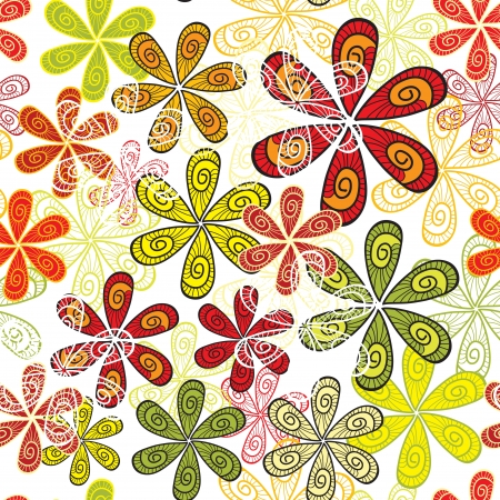 Abstract floral ornament in red and green colors Vector