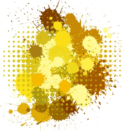 Set of ink blots and halftones patterns in yellow and brown colors Vector