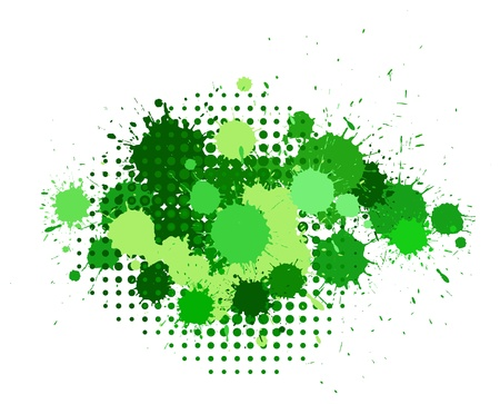 halftones: Set of ink blots and halftones patterns in green colors