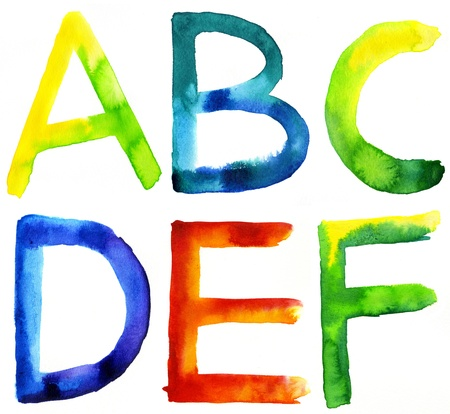 Colored watercolor hand painted letters  A, B, C, D, E, F photo