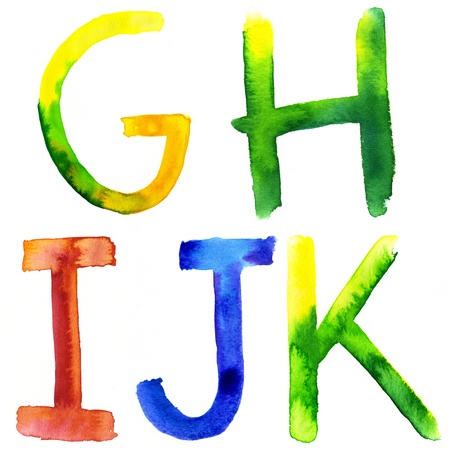 Colored watercolor hand painted letters  G,H, I, J, K photo