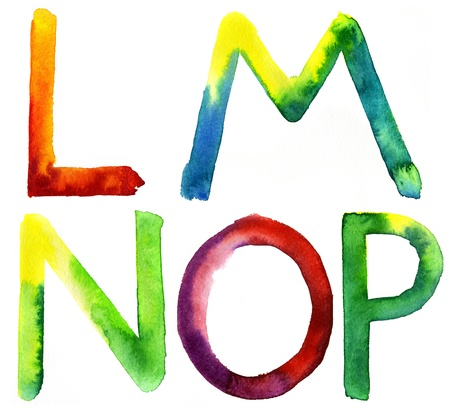 l hand: Colored watercolor hand painted letters  L, M, N, O, P