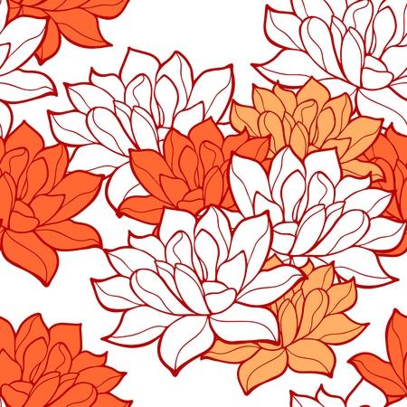 flor de loto: Flores de loto elegantes de fondo sin fisuras