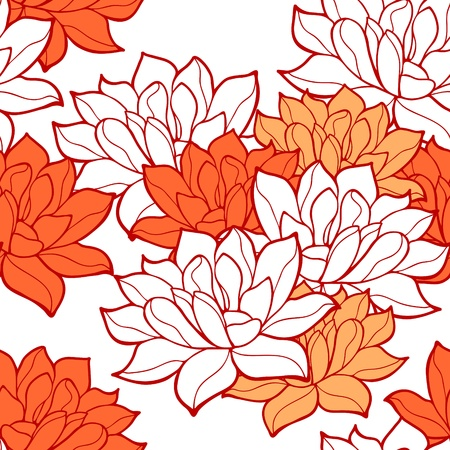 Stylish lotus flowers seamless background Vector