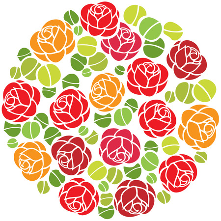 Round stylized background with roses flowers.  Vector