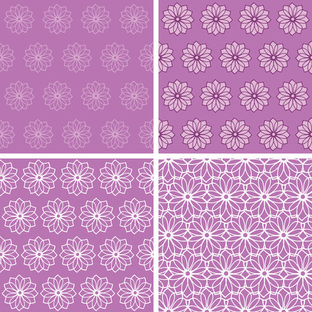 Set of floral seamless backgrounds Vector