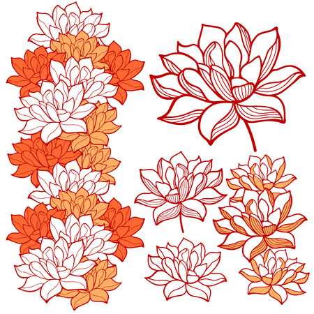 orange water: Stylish lotus flowers ornaments Illustration