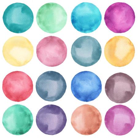 Colección de círculos de acuarela en colores pastel. Conjunto de manchas de acuarela aislado sobre fondo blanco. Paleta de acuarela.
