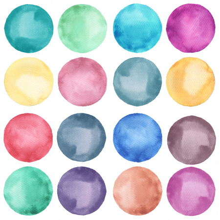 graficas de pastel: Colección círculos acuarela en tonos pastel. Manchas de acuarela conjunto aislado sobre fondo blanco. Paleta de acuarela. Foto de archivo