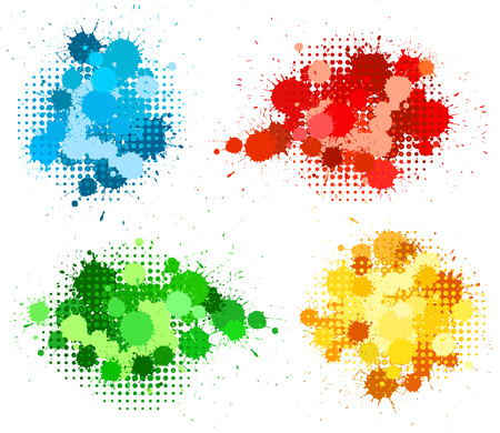 halftones: Set of ink blots and halftones patterns in four colors