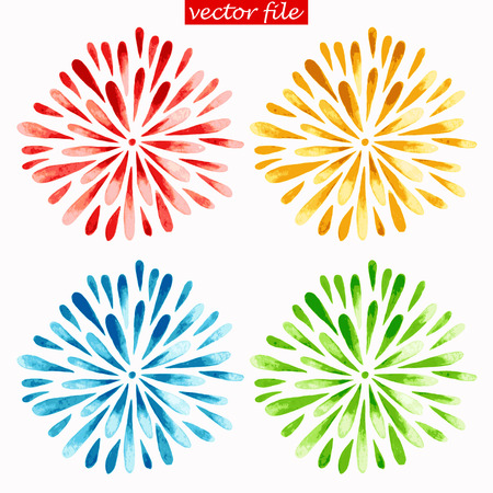Green, Blue, Yellow and Red Watercolor Vector Sunburst Flower Vettoriali