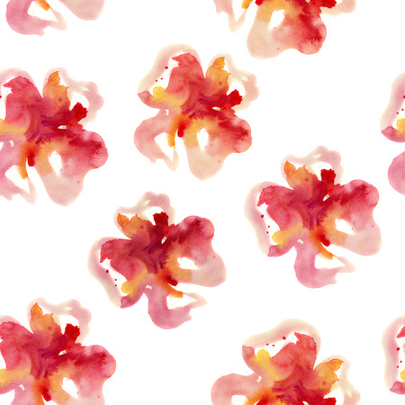 spontaneous painting: Watercolor seamless ornament with flowers.  Stock Photo