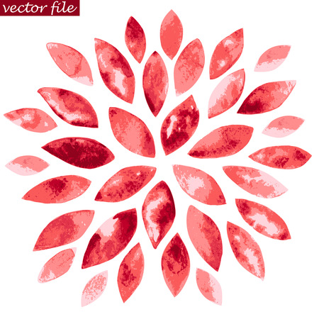 Pink and Red Watercolor Vector Sunburst Flower Vector