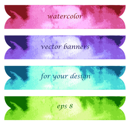 Abstract watercolor art hand paint isolated on white background. Bright watercolor banners Vector