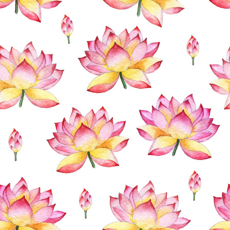 spontaneous painting: Seamless watercolor ornament with lotus flowers. Oriental style.