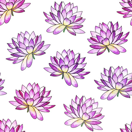 spontaneous painting: Watercolor seamless pattern with Water lily. Oriental style. Stock Photo