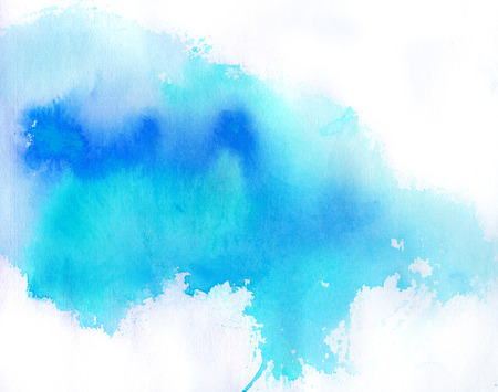 water: Blue spot, watercolor abstract hand painted background Stock Photo