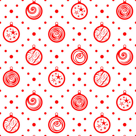 Seamless pattern. Christmas ornament with xmas balls and dotted rhombuses. Holiday background Vector
