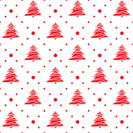 Seamless pattern. Christmas ornament with xmas trees and dotted rhombuses. Holiday background Vector